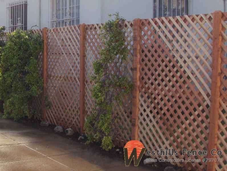 Redwood diamond lattice fence